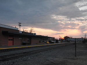 Hutchinson station - The depot at sunset