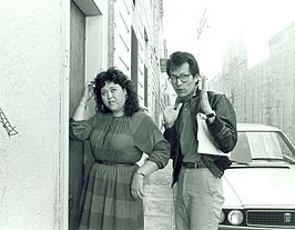 Amy Hill en Wayne Wang op locatie in San Francisco's Nob Hill-Chinatown, 1983