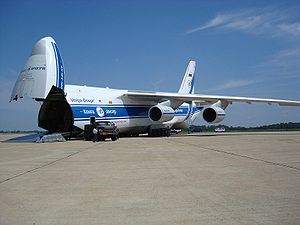 Air cargo - Volga-Dnepr An-124 ready for loading