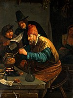 An alchemist. Oil painting after Jan Havicksz. Steen, with a Wellcome V0017656.jpg