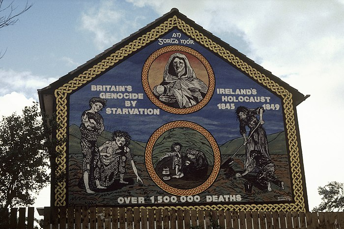 """Ireland's Holocaust"" mural in Belfast. Kennedy cites this as a nationalist distortion of the Great Famine.[1]"