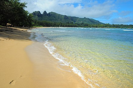 Anahola Bay is a snorkeling and swimming beach with clear pools and a long coral reef. Anahola-Beach-Kauai-Trailblazer.jpg