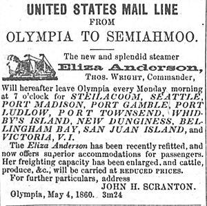 PS Eliza Anderson - Advertisement for Eliza Anderson, placed in Olympia Pioneer Democrat, Washington Terr., September 28, 1860