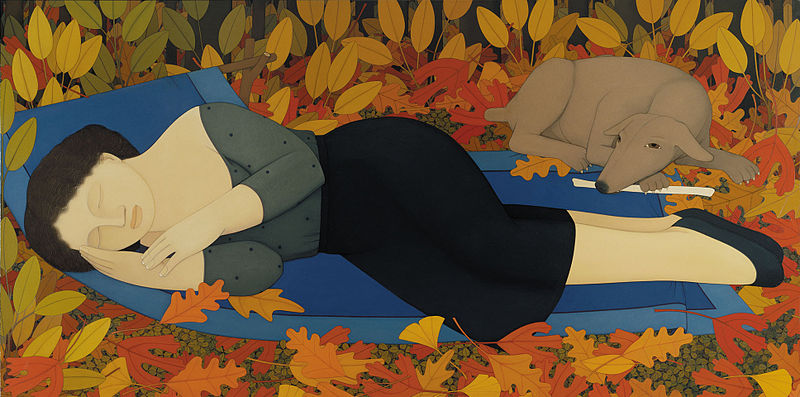 """File:Andrew Stevovich oil painting, Woman with Autumn Leaves, 1994, 36"""" x 72"""".jpg"""