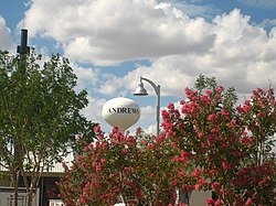 Water tower in Andrews, Texas