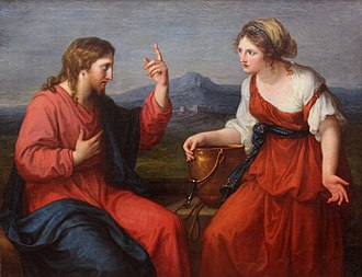 Samaritan woman at the well - The Water of Life Discourse between Jesus and the Samaritan Woman at the Well by Angelika Kauffmann, 17–18th century