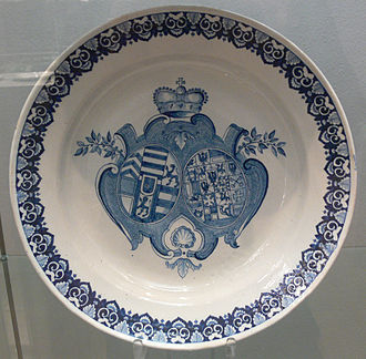 Johann Reinhard III, Count of Hanau-Lichtenberg - Combined coats of arms of Johann Reinhard III of and Frederike Dorothea of Brandenburg-Ansbach, faience from Ansbach, probably made in 1724 on the occasion of their silver wedding