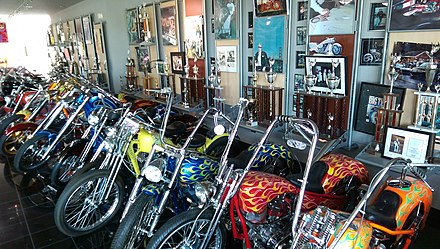 Arlen Ness motorcycles and trophies on display in Dublin, California Arlen Ness motorcycles and trophies.jpg