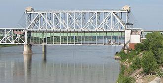 ASB Bridge - ASB Bridge from Westport Landing, span in lowered position, in 2006