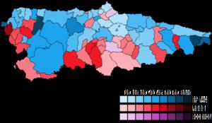 Asturias (Congress of Deputies constituency) - Image: Asturias Municipal Map Congress 2015