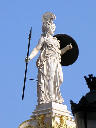 Modern Greek art - Athena column by Leonidas Drosis in front of the Academy of Athens (modern).