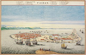 History of Taiwan - Bird's eye view of Fort Zeelandia in Dutch Formosa in the 17th-century