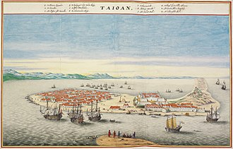 Bird's eye view of Fort Zeelandia in Dutch Formosa in the 17th-century. It was in the Dutch rule period of Taiwan that Dutch East India Company (VOC) began to encourage large-scale mainland Chinese immigration. Atlas Blaeu-Van der Hem - Taioan.jpg