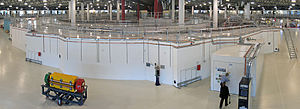 Synchrotron - The interior of the Australian Synchrotron facility, a synchrotron light source. Dominating the image is the storage ring, showing a beamline at front right. The storage ring's interior includes a synchrotron and a linac.