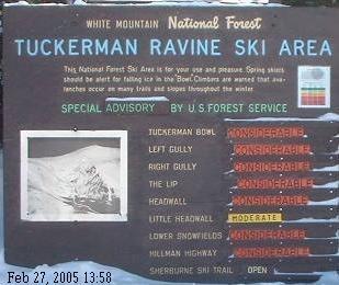 Avalanche warning in Tuckerman