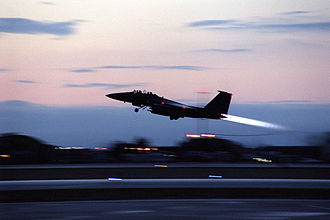 History of the Italian Republic - U.S. Air Force F-15E Strike Eagle takes off from Aviano Air Base (1999)