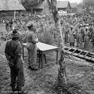 2/10th Field Regiment (Australia) - Liberated troops, including those from the 2/10th, at the Japanese surrender at Kuching, September 1945