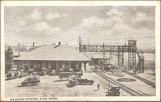 Ayer (MBTA station) - The station buildings and signal bridges in 1919