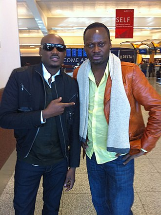 Ayo Shonaiya - Ayo and 2face Idibia after the taping of the Mo'Nique Show in Atlanta.
