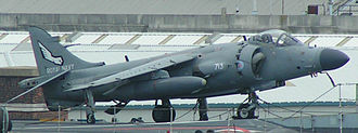 HMS Invincible (R05) - A Sea Harrier FA2 on the deck of Invincible