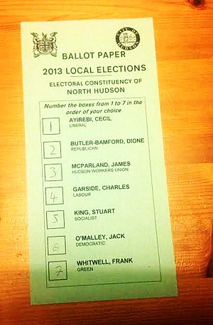 Donkey vote - An example of a ballot paper on which the voter has allocated preference according to the order of the candidates listed.