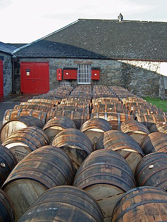 Bourbon whiskey - Used bourbon barrels awaiting fresh contents in Scotland