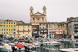 View of St Jean Baptiste Cathedral from Bastia Port