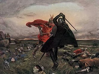 Battle of Camlann - Battle Between King Arthur and Sir Mordred by William Hatherell (19th century)