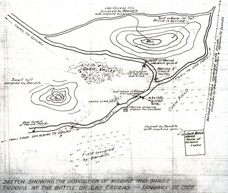 Battle of Las Cruces (1928) - A plan of the battle by Meron Richal.