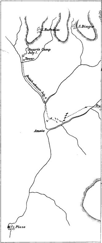 Battle of Maida - Map of the Battle of Maida showing the British march to the battlefield.