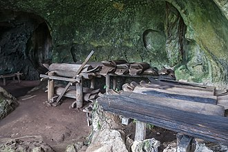 Agop Batu Tulug Caves - Several wooden coffins in the upper cave.