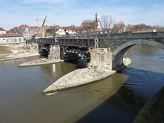 Stone Bridge (Regensburg) - North end of the bridge under repair in March 2010
