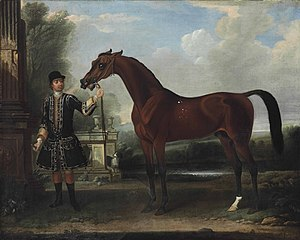 Bay Bolton - Image: Bay Bolton, foaled 1705, held by a groom, in a parkland setting, oil on canvas, by Thomas Spencer (1700 1763), 40¼ x 50¼ inches