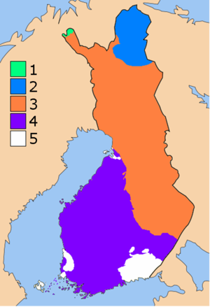 Svecofennian orogeny - Map showing the large-scale geological units of Finland. The Svecofennian orogen (4) is shown in violet blue. The Older Karelian Domain (3) is orange coloured. Areas younger than the Svecofennian orogen are in white.