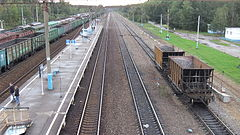 Bekasovo-1 station (view to east part of high platform from pedestrian overpass 2).JPG