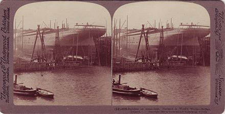 A 1907 stereoscope postcard depicting the construction of a passenger liner (the RMS Adriatic) at the Harland and Wolff shipyard Belfast's Harland and Wolff Shipyard (RMS Adriatic), 1907.jpg