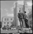 Berkeley, California. University of California Lawn Forum. Ed Howden, Chairman, and a student commenting on... - NARA - 532094.tif