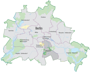The location of Neukölln in Berlin.