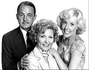 Cast photo from The Betty White Show of 1977. From left-John Hillerman, Betty White, Georgia Engel.