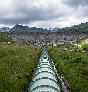Water pipeline between Silvretta Reservoir and Lake Vermunt; concrete dam. Vorarlberg, Austria