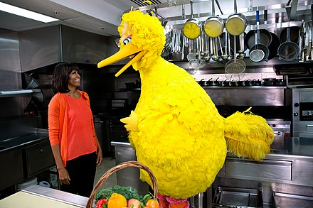 Obama participates in a Let's Move! and Sesame Street public service announcement taping with Big Bird in the White House Kitchen, 2013. Big Bird and Michelle Obama (8555066920).jpg