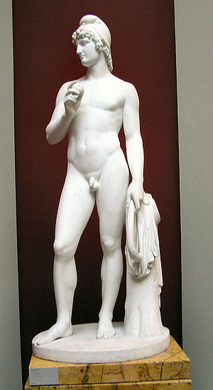 Paris (mythology) - Prince Paris with apple by H.W. Bissen, Ny Carlsberg Glyptotek, Copenhagen
