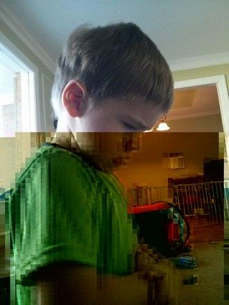 Data degradation - Image: Bitrot in JPEG files, 1 bit flipped