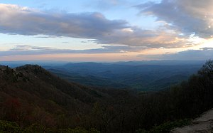 Blowing Rock, North Carolina - Looking southeast at sunset over the foothills of the Blue Ridge