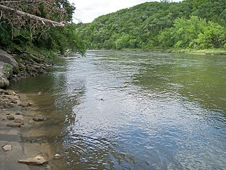Blue Earth River - The Blue Earth River near the USGS stream gauge in 2007
