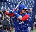Blue Jays third baseman Josh Donaldson takes batting practice before the AL Wild Card Game. (29507214423).jpg