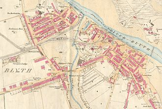 "Blyth, Northumberland - A map of Blyth, circa 1860: the old part of the town is to the right; the houses of Waterloo and Cowpen Quay are to the bottom-left and top-left respectively. Also depicted are ""the Gut"" (or ""Slake"") and the first Blyth railway station."