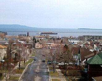Transportation in Thunder Bay, Ontario - A boat carrying wood in the harbour