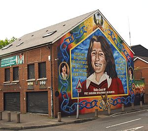 Sinn Féin - Bobby Sands mural in Belfast. Sands, a member of the Provisional IRA, stood on an Anti H-Block ticket.