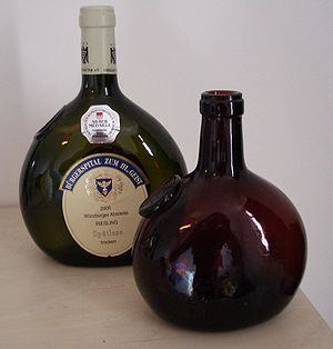 German wine - German wine from Franken in the characteristic round bottles (Bocksbeutel)